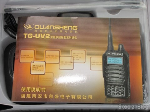 Manual em Chinês do Rádio HT Quansheng Walkie-Talkie Multi-Banda VHF/UHF, Dual Frequency, com VOX, Lanterna e Rádio FM