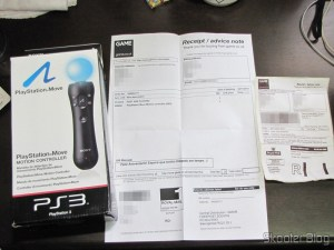Playstation Motion Move Controller, accompanied by the receipt GAME