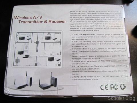Parte traseira da caixa do Transmissor/Receptor A/V Sem Fio com Extensor de Controle Remoto 5.8GHz Pakite PAT-530