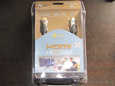 Cabo HDMI v1.4 M-M 1080p banhado a ouro, duplamente blindado com 5 metros em sua embalagem