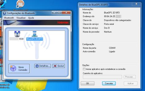Receptor GPS Bluetooth para Navegação e Rastreamento com 20 canais conectado no PC via bluetooth