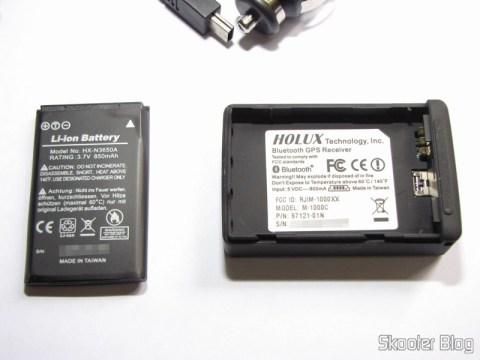 Bateria e compartimento de bateria do Receptor GPS Bluetooth HOLUX M-1000C com Gravador de Log de Viagem, Recarregável