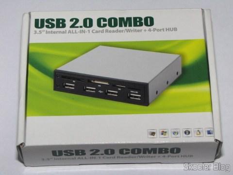 """Painel Frontal para baia de 3.5"""" com leitor de cartões SDHC/MS/SD/MMC/TF/M2 e 4 portas USB em sua caixa"""