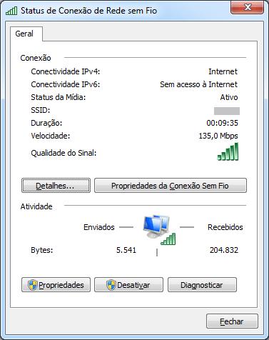 Status de conexão do Dongle de Rede Sem Fio WiFi USB 2.0 300Mbps 802.11n/g/b de Alta Potência com o driver que acompanha o Windows, conexão em 135Mbps