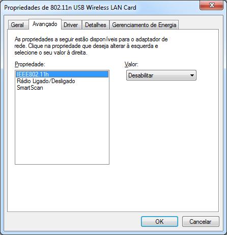 Propriedades avançadas do Dongle de Rede Sem Fio WiFi USB 2.0 300Mbps 802.11n/g/b de Alta Potência, ainda com o driver que acompanha o Windows 7 x64