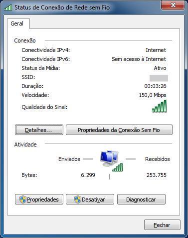 Status de conexão do Dongle de Rede Sem Fio WiFi USB 2.0 300Mbps 802.11n/g/b de Alta Potência após a instalação do driver atualizado, agora chegando a 150Mbps