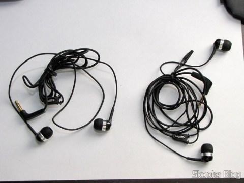 Comparação entre o Fone de Ouvido In-Ear com Isolamento de Ruído com Plug P2 (3.5mm) (à esquerda) e cabo de 120cm e o Sennheiser CX-300 II Precision (à direita)