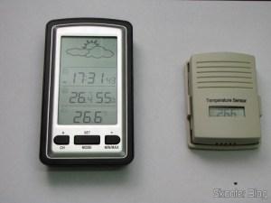 Estação de Tempo com LCD de 4″, Relógio, Higrômetro, e Sensor de Temperatura Interno e Externo Sem Fio