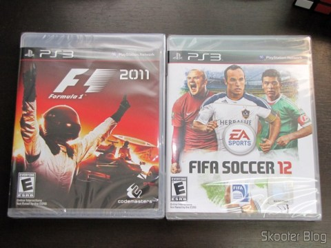 F1 2011 e Fifa Soccer 12, ambos do Playstation 3 (PS3) direto da eStarland nos EUA para o Brasil em apenas 10 dias corridos