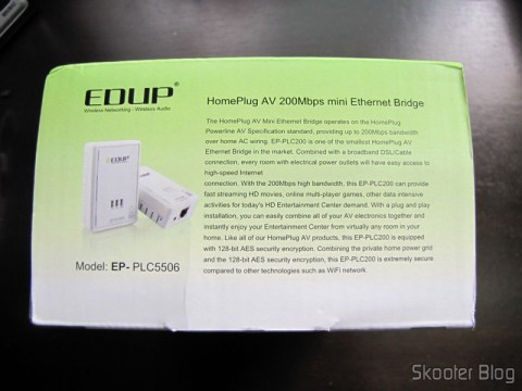 Lateral da caixa do Par de Adaptadores de Rede EP-PLC5506 HomePlug Powerline 200Mbps
