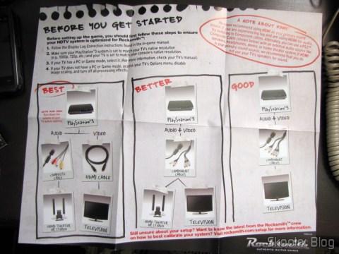 Folheto sugerindo as melhores formas de conexões do Playstation 3 à TV e ao Home Theater, para jogar Rocksmith (PS3)