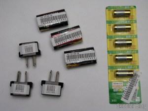 Pacote com 5 Baterias Alcalinas GP 23A-L5 12V de Alta Capacidade, Baterias Recarregáveis de Íons de Lítio Trustfire 14500 Genuínas de 3.6V 900mAh, e Adaptador de Energia padrão Australiano para Europeu