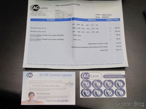 Invoice, Coupon discounts and adhesives chart of AC Lens
