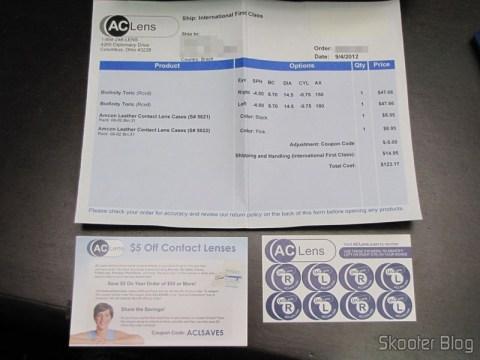 Invoice, cupom de descontos e cartela de adesivos da AC Lens