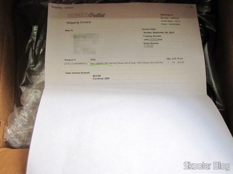 Invoice do Mouse Logitech G9x - Edição Call of Duty: Modern Warfare 3 (New Logitech G9X Gaming Mouse Call of Duty: MW3 Edition) dentro da caixa
