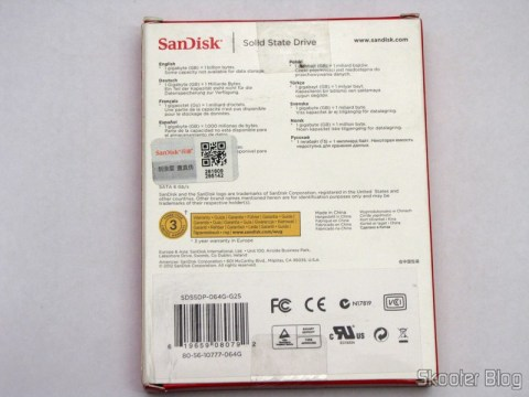 SSD 64GB 2.5 inch Sandisk ((SanDisk) SSD SDP 64GB 2.5-inch Solid State Drive CHP-103695) on its packaging
