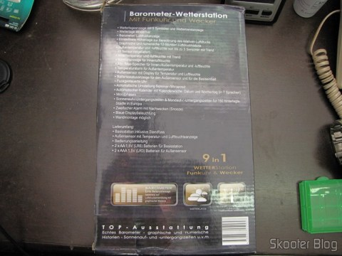 "Parte traseira da caixa da Estação de Tempo com Barômetro, Sensor Remoto Sem Fio, LCD 5.3"" 9 em 1 TPW399 (2 x AA + 2 x AAA) (TPW399 9-in-1 5.3"" LCD Barometer Weather Station w/ Wireless Remote Sensor (2 x AA + 2 x AAA))"
