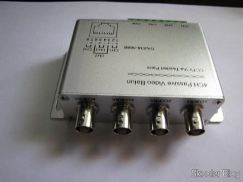Balun Transceiver Passivo de 4 Canais de Vídeo (CCTV) via Par Trançado, máximo 330m