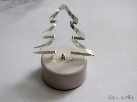 Árvore de Natal Acrílica Transparente com LED colorido (Christmas Tree Shaped Crystal Color LED Night Lamp Light)
