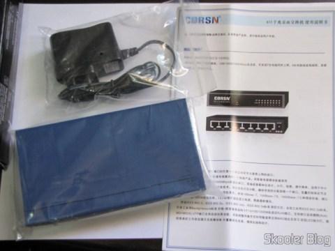 Switch 8 Portas Gigabit Ethernet 10/100/1000Mbps CORSN CS-1008G (CORSN CS-1008G 8-Port 100Mbps / 1000Mbps Switch – Blue) with its source and manual