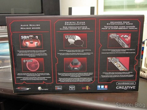 Caixa da Creative Sound Blaster ZX SBX PCIE Gaming Sound Card with Audio Control Module SB1506