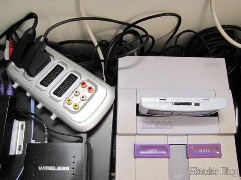 RGB SCART Cable for Super Nintendo (SNES), Super Famicom, Gamecube and Nintendo 64 (RGB Cable), connected to SCART RGB Switch and the Super Nintendo