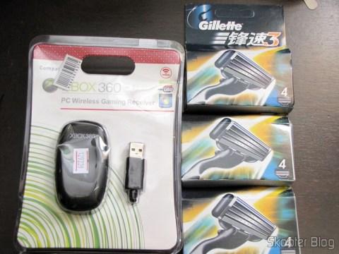 Receptor de Controladores Sem Fio de Xbox 360 para PC e 12 Cartuchos Mach 3 da Gillette revolucionário com lâmina tripla