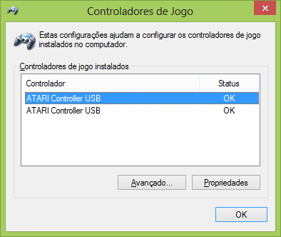 Configurações do Adaptador para conectar dois Joysticks de Atari 2600 no PC via USB (NEW Dual Port PC Computer USB Port Controller Adapter for ATARI 2600 JOYSTICK)
