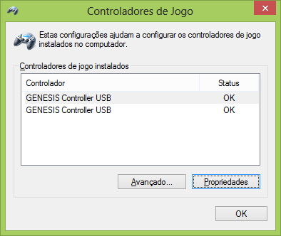 Configurações do Cabo Adaptador para conectar dois Joysticks de Mega Drive (Sega Genesis) no PC via USB (Genesis to PC USB Cable BRAND NEW for Sega Genesis)
