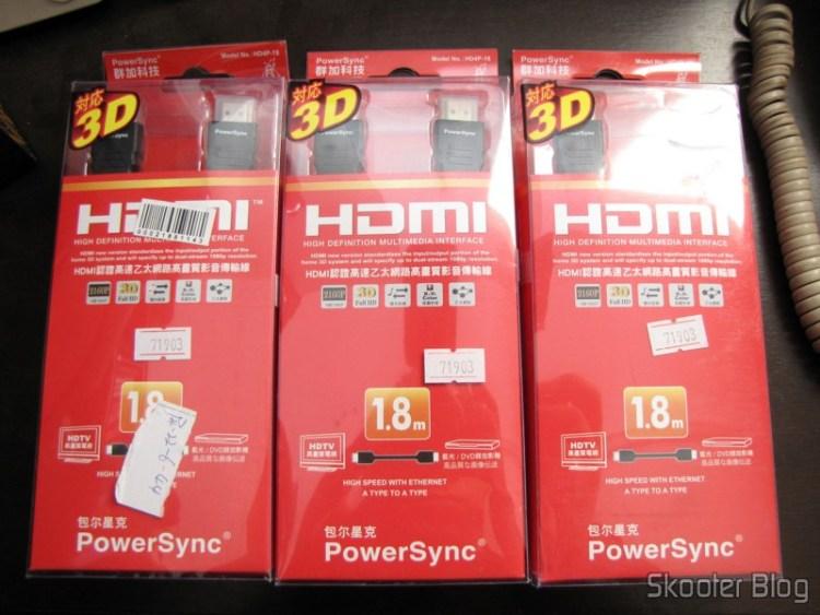 3 Cabos HDMI M-M PowerSync Genuíno de Alta Velocidade, 3D, Ethernet 2160p com 1,8 meters (Genuine PowerSync 2160P HDMI M-M High Speed/3D/Ethernet Connection Cable (1.8M-Length))