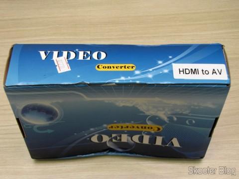 Caixa com o Conversor de HDMI para Vídeo Composto (CVBS) + Áudio Estéreo (HDMI to CVBS Video Converter)