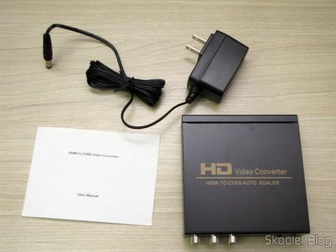 Conversor de HDMI para Vídeo Composto (CVBS) + Áudio Estéreo (HDMI to CVBS Video Converter), manual e fonte de alimentação