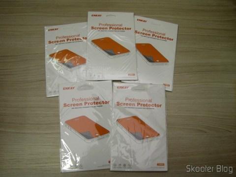 5 Películas de Proteção de Tela para Samsung Galaxy Grand Duos / i9082 ENKAY Transparente (ENKAY Screen Guard Protector for Samsung Galaxy Grand Duos / i9082 - Transparent) em suas respectivas embalagens