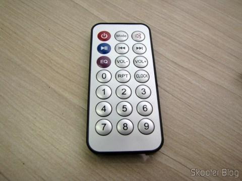 Controle Remoto do Hardware Decodificador MP3  c/ FM, Remote Controle, USB, Mini USB Slot SD (MP3 Hardware Decoder w/ FM/Remote Controller/USB/Mini USB/SD Slot – Black (5In))