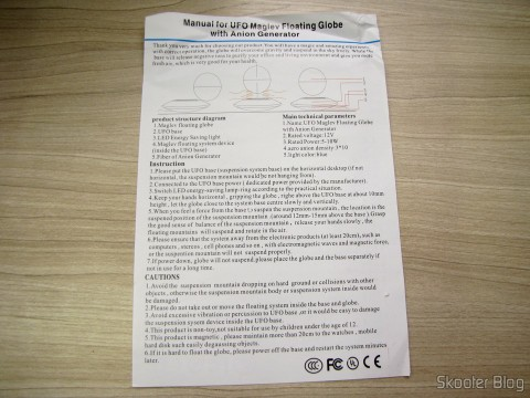 User Manual in English Globe Floating Maglev UFO Cheerlink 106mm c / Generator Anion (CHEERLINK 106mm UFO Maglev Floating Globe w/ Anion Generator – Blue + Black (US Plug / AC 100 ~ 240V))