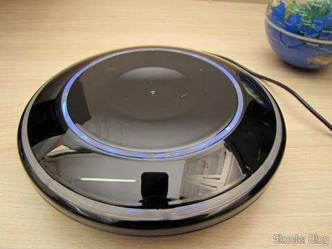 Base do Globo Flutuante Maglev UFO Cheerlink 106mm c/ Gerador de Ânions (CHEERLINK 106mm UFO Maglev Floating Globe w/ Anion Generator – Blue + Black (US Plug / AC 100~240V))