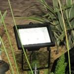 Refletor com 30 Lâmpadas LEDs 2W 200lm 7000K Solar a Prova D'Água (Waterproof Solar 2W 7000K 200lm 30-LED Flood Cool White Light Project Lamp – Black), instalado e em funcionamento