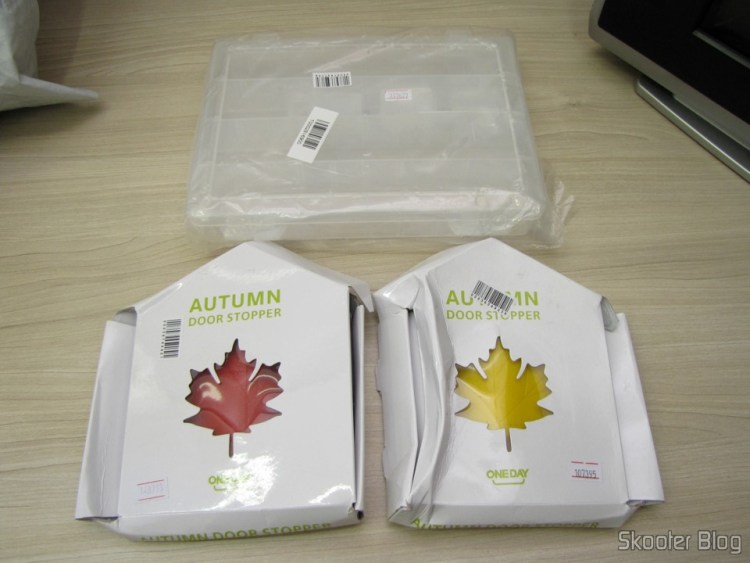 Plastic Storage Box with 40 Magazines Free Combination Translucent White (40-Compartment Free Combination Plastic Storage Box for Hardware Tools / Gadgets - Translucent White), To-Door Style Red Maple Leaf (Maple Leaf Style Door Stopper Guard – Red), and To-Door Style Maple Leaf Yellow (Fashion Maple Leaf Style Door Stopper Guard - Random Color)