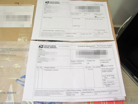 Customs Declaration Form with Amazon package with the Playstation 4 (PS4)