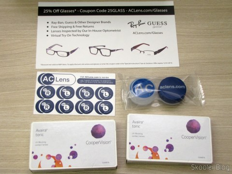 Discount coupon to buy sunglasses from AC Lens, stickers chart, lens case and the boxes of contact lenses Cooper Vision Avaira Toric