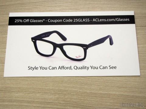 Cupom de desconto para compra de óculos na AC Lens