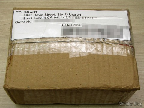Package with the RMA code, ready to be forwarded to the US