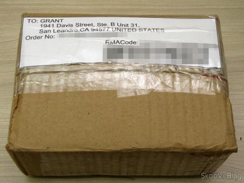 Pacote com o código de RMA, pronto para ser encaminhado para os EUA