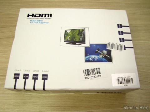 Matriz HDMI 1080p LINK-MI LM-MX03 - 4 Entradas / 2 Saídas (LINK-MI LM-MX03 1080p HDMI Matrix - Black (4-In / 2-Out)), em sua embalagem