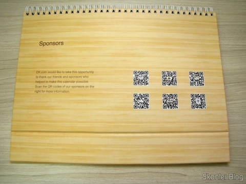 Calendar Table of DX 2014 with Discount Vouchers in 12 months, totaling $ 237,00 (DX 2014 Desk Calendar with 12 Months' Coupon Codes (Value USD$ 200)): QR Code Sponsors