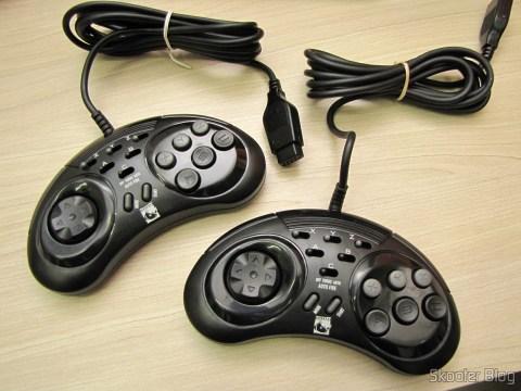 Os dois Controladores de 6 Botões ASCII 'Rhino' para Mega Drive (NEW Sega Genesis 6 Button RHINO PAD controller control)