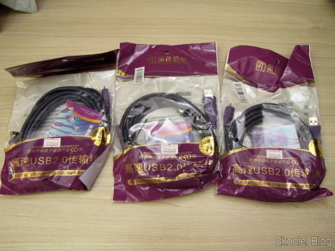 The 3 Load Data Cables and USB male to Micro USB male Millionwell 01.0363 with 3 meters (Millionwell 01.0363 USB Male to Micro USB Male Data / Charging Cable - Purple (3m)), in their packaging