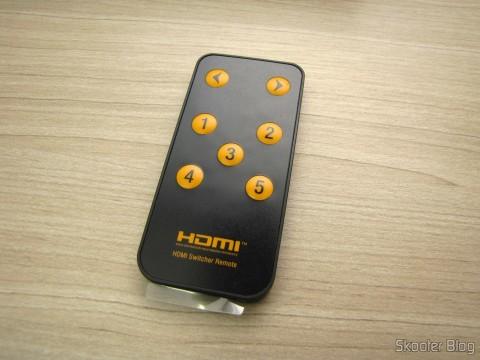 Controle Remoto do Switch HDMI c/ Controle Remoto LINK-MI LM-SW04 1080p 3D 5 entradas p/ 1 saída (LINK-MI LM-SW04 1080P 3D 5 in 1 out HDMI Switch w/ Remote Control - Black)