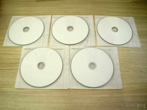 Os 10 Discos Blu-Ray Graváveis BD-R DL 50GB Verbatim em seus envelopes