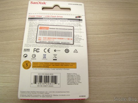 SanDisk Cruzer Edge 64 GB USB Flash Drive, on its packaging